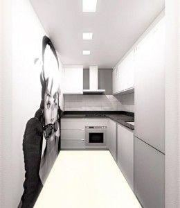 Imagen virtual de la reforma de una cocina bien aprovechada